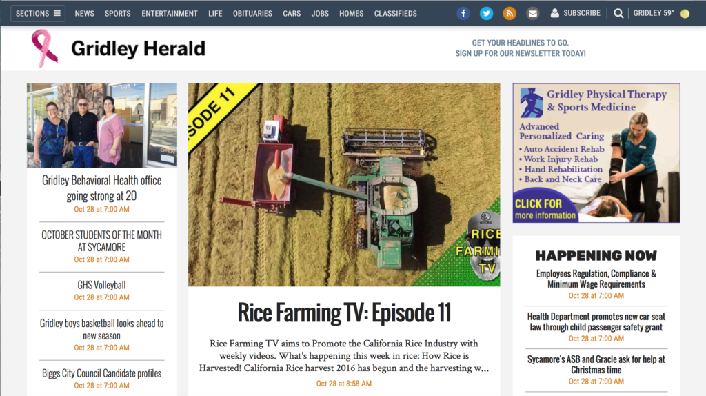 Gridley Herald Rice Farming TV